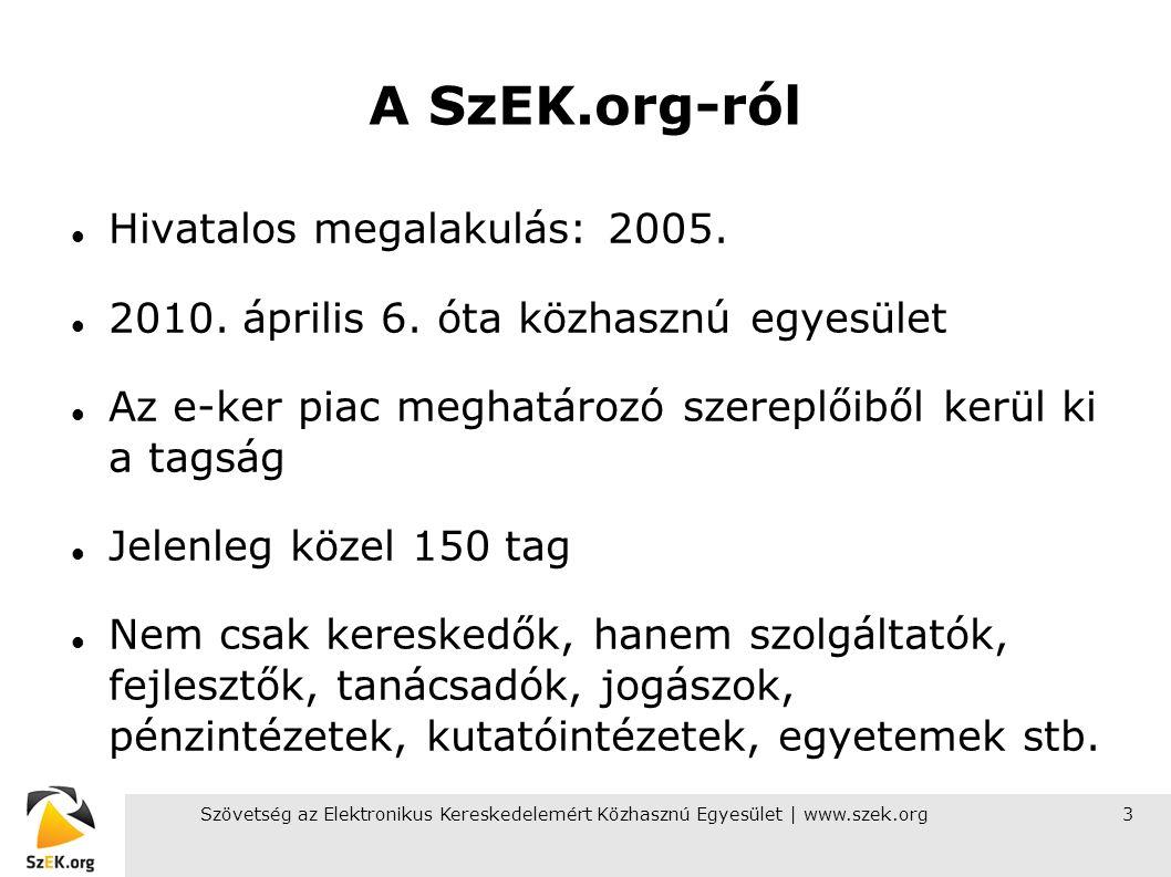 Szövetség az Elektronikus Kereskedelemért Közhasznú Egyesület | www.szek.org3 A SzEK.org-ról Hivatalos megalakulás: 2005.