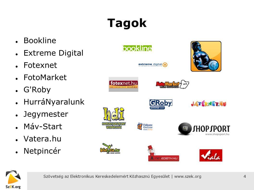 Szövetség az Elektronikus Kereskedelemért Közhasznú Egyesület | www.szek.org4 Tagok Bookline Extreme Digital Fotexnet FotoMarket G Roby HurráNyaralunk Jegymester Máv-Start Vatera.hu Netpincér