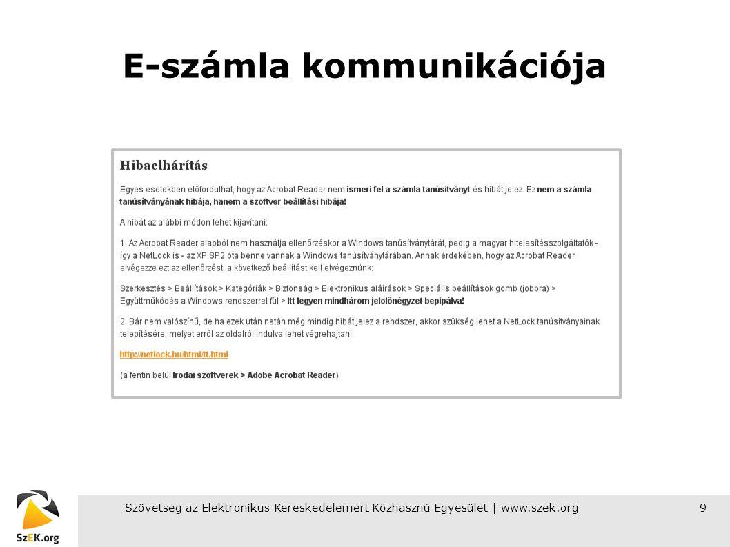 Szövetség az Elektronikus Kereskedelemért Közhasznú Egyesület | www.szek.org10 Tapasztalatok A legtöbb probléma a nagyvállalatoknál akadt Nincsenek kialakítva az e-számla befogadásának folyamatai Fogalmi zavarok vannak Az alapvető hozzáállás elutasító Erős a félelem az adóhivataltól (elfogadják-e az e-számlát?)