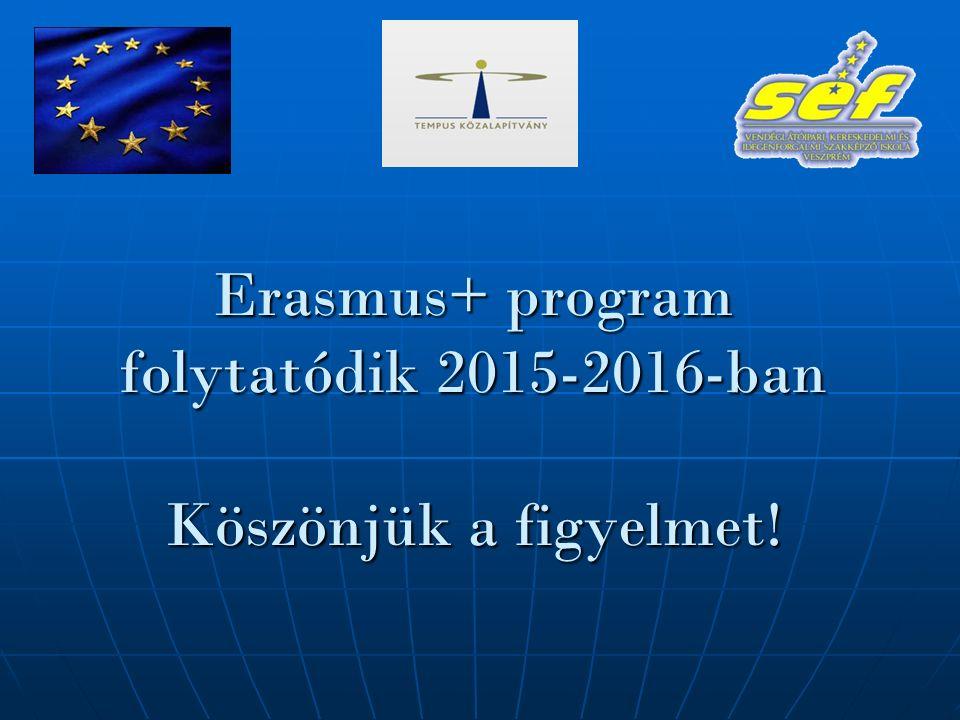 Erasmus+ program folytatódik 2015-2016-ban Köszönjük a figyelmet!