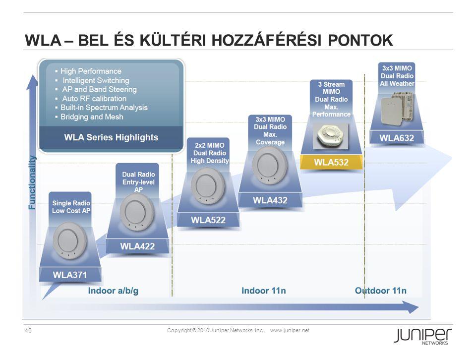 40 Copyright © 2010 Juniper Networks, Inc. www.juniper.net WLA – BEL ÉS KÜLTÉRI HOZZÁFÉRÉSI PONTOK