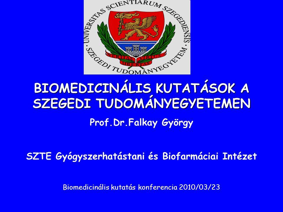 BIOMEDICINÁLIS KUTATÁSOK A SZEGEDI TUDOMÁNYEGYETEMEN Prof.Dr.Falkay György SZTE Gyógyszerhatástani és Biofarmáciai Intézet Biomedicinális kutatás konferencia 2010/03/23