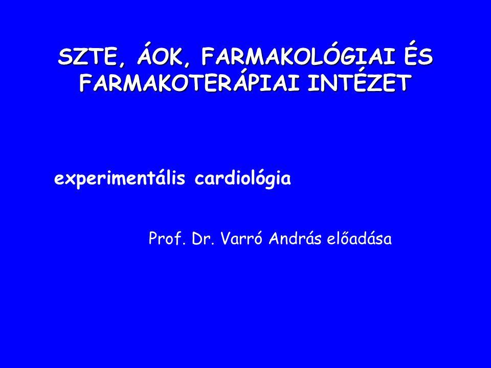SZTE, ÁOK, FARMAKOLÓGIAI ÉS FARMAKOTERÁPIAI INTÉZET experimentális cardiológia Prof.