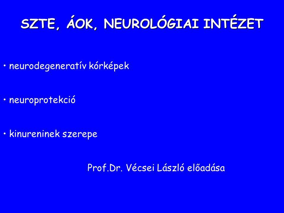 SZTE, ÁOK, NEUROLÓGIAI INTÉZET neurodegeneratív kórképek neuroprotekció kinureninek szerepe Prof.Dr.
