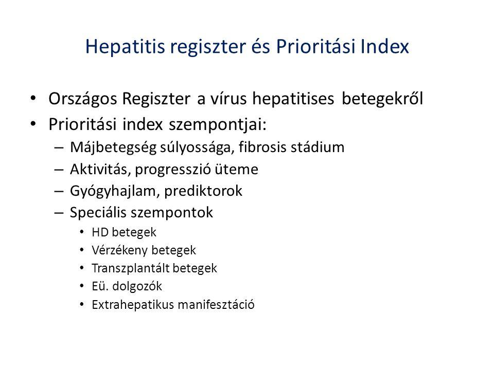 Hepatitis regiszter és Prioritási Index Országos Regiszter a vírus hepatitises betegekről Prioritási index szempontjai: – Májbetegség súlyossága, fibrosis stádium – Aktivitás, progresszió üteme – Gyógyhajlam, prediktorok – Speciális szempontok HD betegek Vérzékeny betegek Transzplantált betegek Eü.