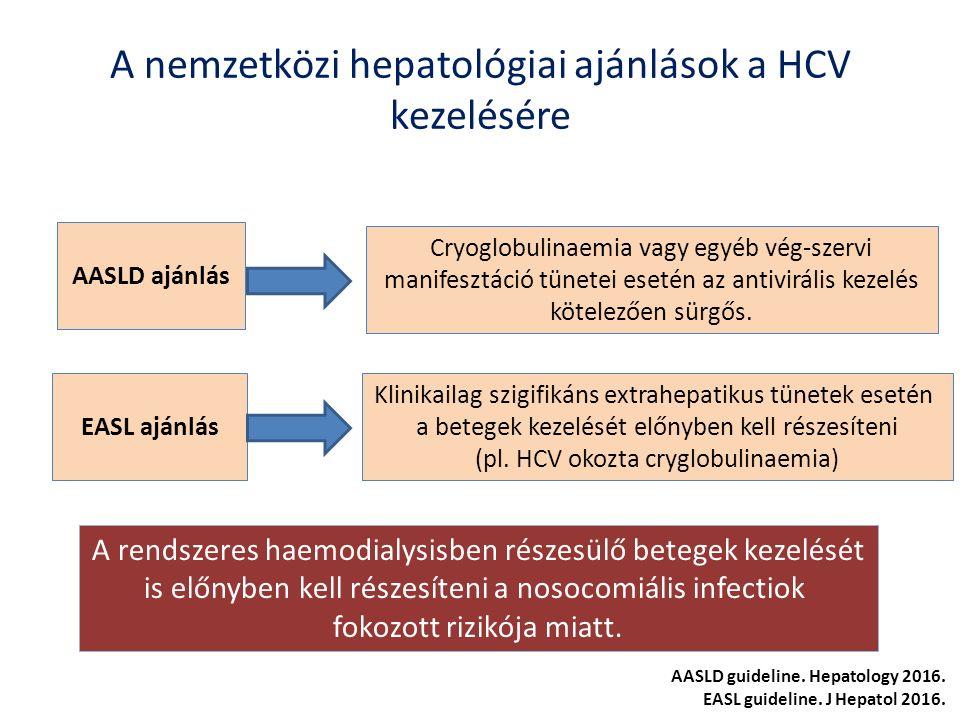 A nemzetközi hepatológiai ajánlások a HCV kezelésére AASLD ajánlás EASL ajánlás Cryoglobulinaemia vagy egyéb vég-szervi manifesztáció tünetei esetén az antivirális kezelés kötelezően sürgős.