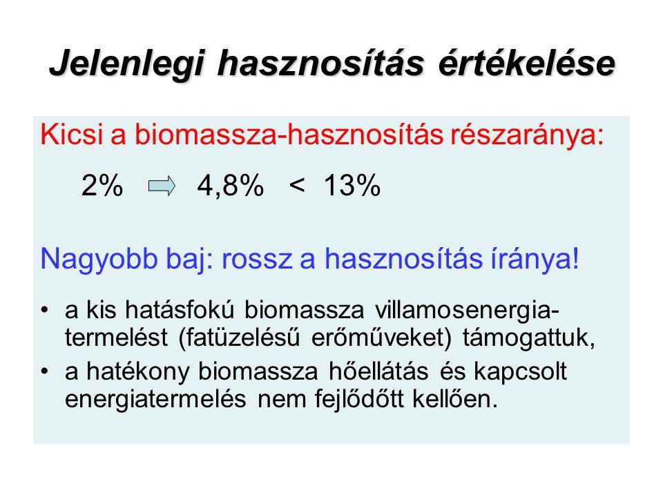 Jelenlegi hasznosítás értékelése Kicsi a biomassza-hasznosítás részaránya: 2% 4,8% < 13% Nagyobb baj: rossz a hasznosítás íránya.