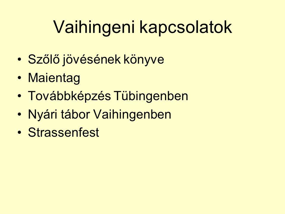 Vaihingeni kapcsolatok Szőlő jövésének könyve Maientag Továbbképzés Tübingenben Nyári tábor Vaihingenben Strassenfest