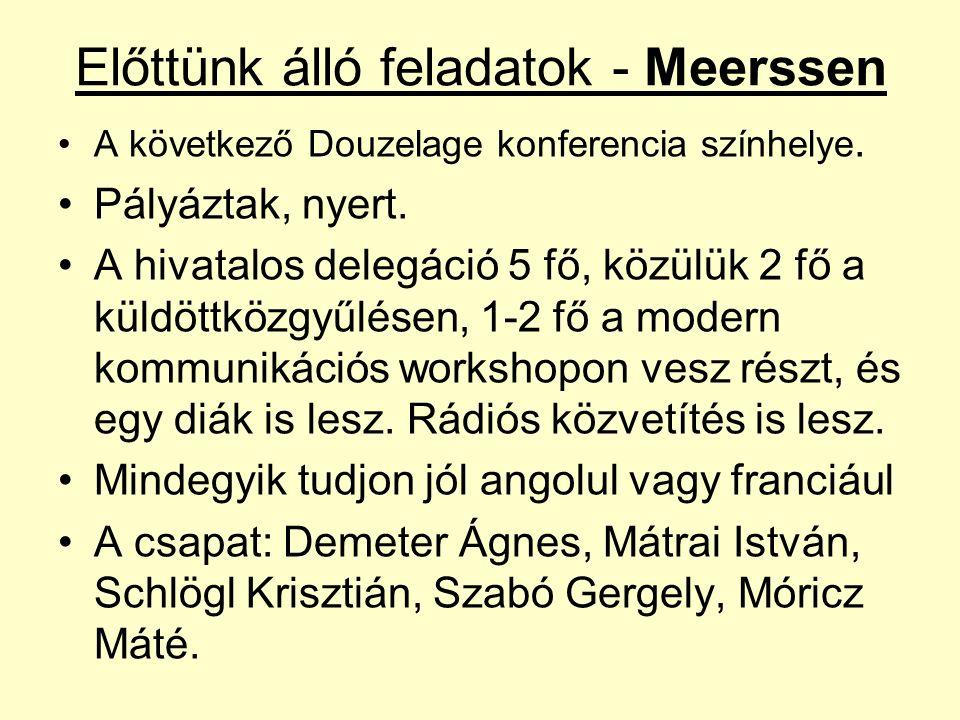 Előttünk álló feladatok - Meerssen A következő Douzelage konferencia színhelye. Pályáztak, nyert. A hivatalos delegáció 5 fő, közülük 2 fő a küldöttkö