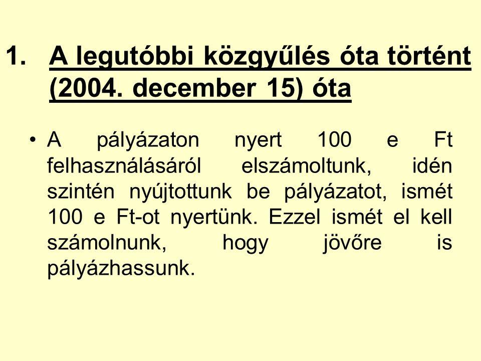 1.A legutóbbi közgyűlés óta történt (2004. december 15) óta A pályázaton nyert 100 e Ft felhasználásáról elszámoltunk, idén szintén nyújtottunk be pál