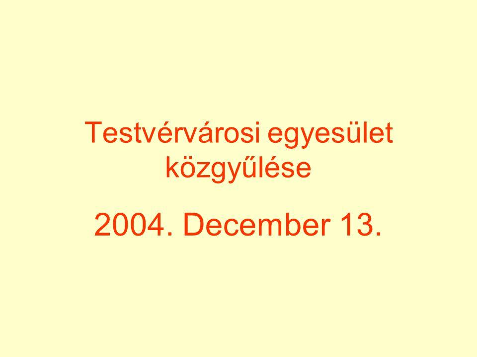 Testvérvárosi egyesület közgyűlése 2004. December 13.
