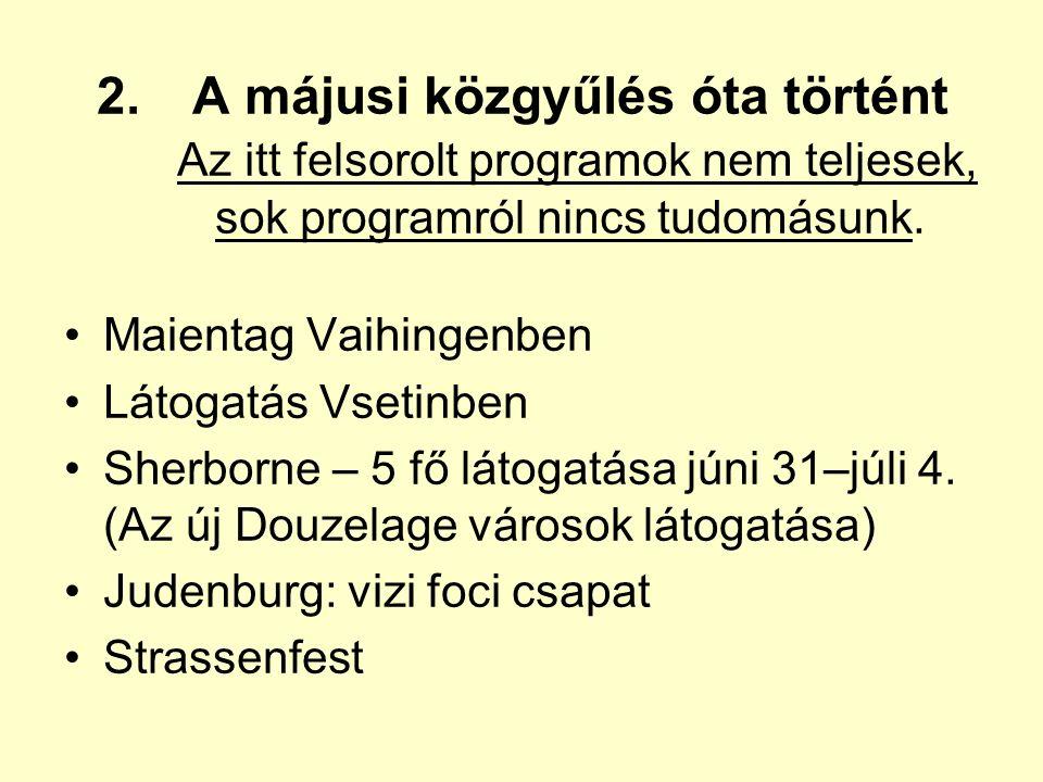 2.A májusi közgyűlés óta történt Az itt felsorolt programok nem teljesek, sok programról nincs tudomásunk.