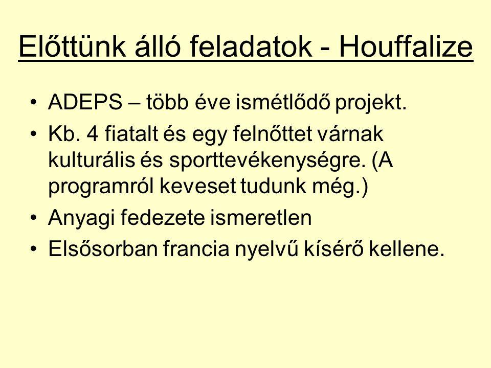 Előttünk álló feladatok - Houffalize ADEPS – több éve ismétlődő projekt.