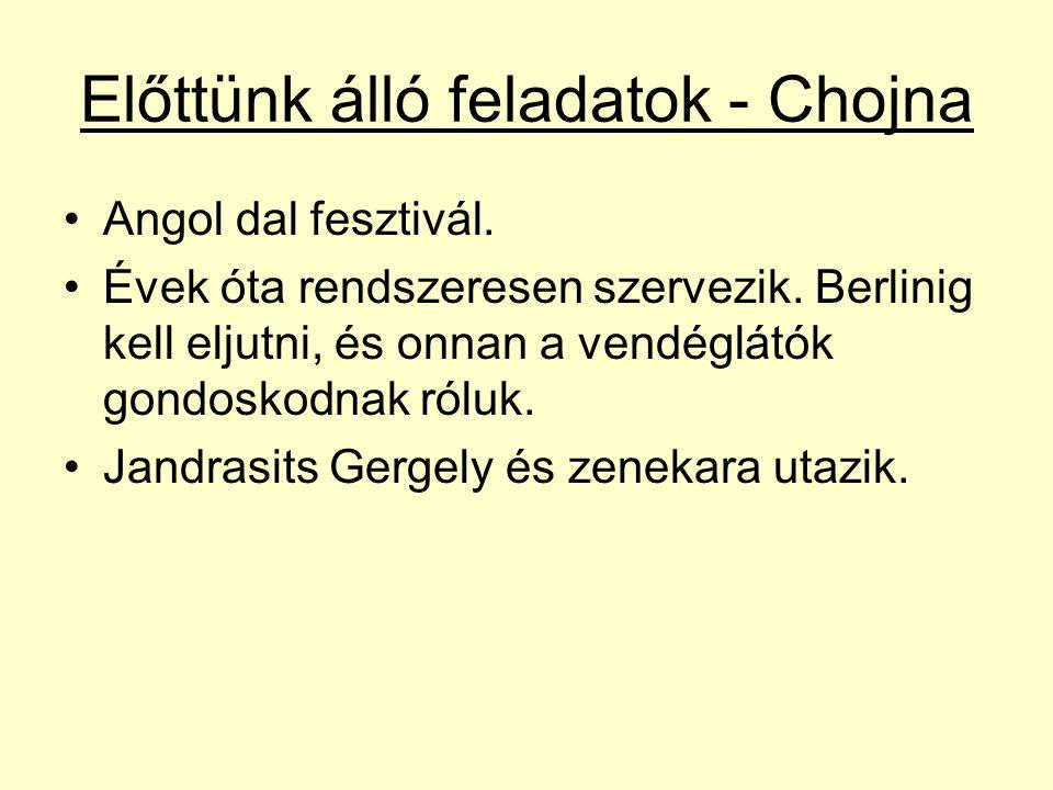 Előttünk álló feladatok - Chojna Angol dal fesztivál.