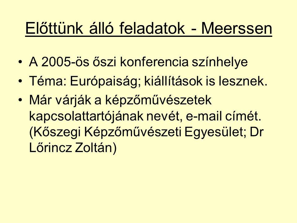 Előttünk álló feladatok - Meerssen A 2005-ös őszi konferencia színhelye Téma: Európaiság; kiállítások is lesznek.