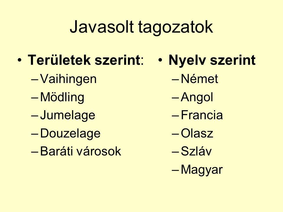 Javasolt tagozatok Területek szerint: –Vaihingen –Mödling –Jumelage –Douzelage –Baráti városok Nyelv szerint –Német –Angol –Francia –Olasz –Szláv –Magyar