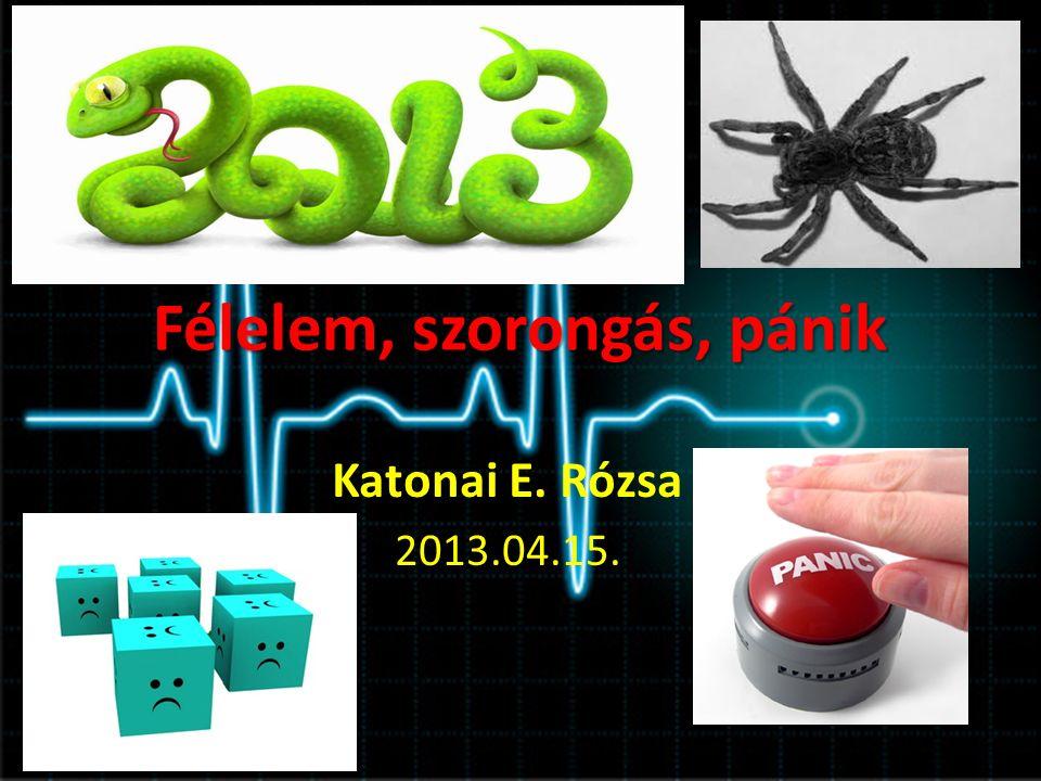 Félelem, szorongás, pánik Katonai E. Rózsa 2013.04.15.