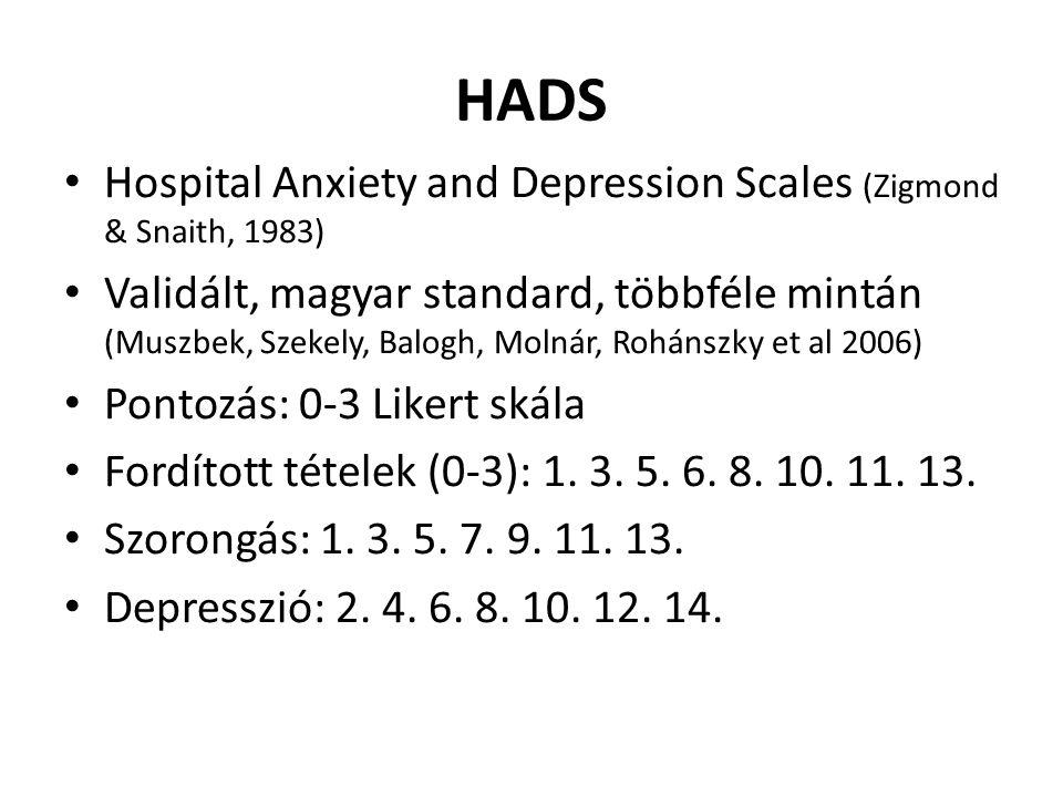 Hospital Anxiety and Depression Scales (Zigmond & Snaith, 1983) Validált, magyar standard, többféle mintán (Muszbek, Szekely, Balogh, Molnár, Rohánszky et al 2006) Pontozás: 0-3 Likert skála Fordított tételek (0-3): 1.
