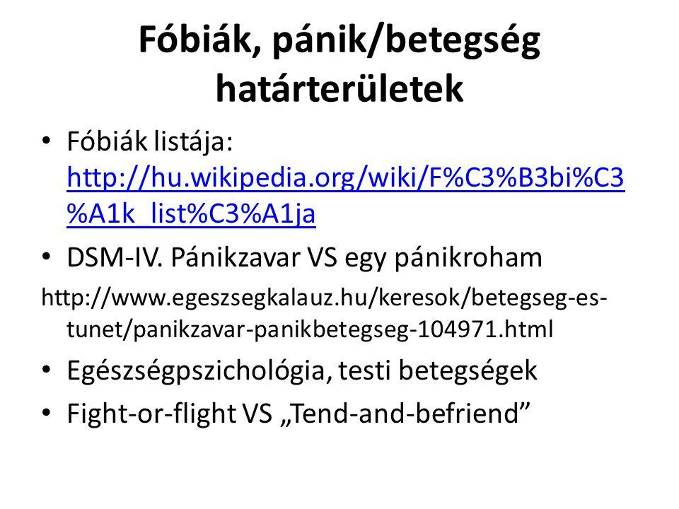 Fóbiák, pánik/betegség határterületek Fóbiák listája: http://hu.wikipedia.org/wiki/F%C3%B3bi%C3 %A1k_list%C3%A1ja http://hu.wikipedia.org/wiki/F%C3%B3bi%C3 %A1k_list%C3%A1ja DSM-IV.