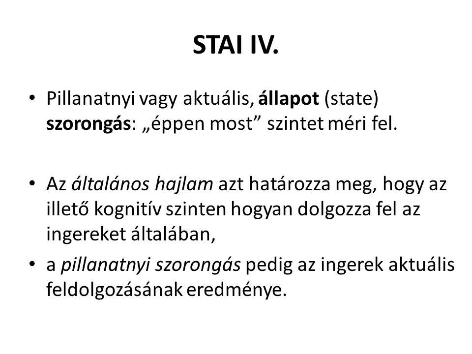 """STAI IV. Pillanatnyi vagy aktuális, állapot (state) szorongás: """"éppen most szintet méri fel."""