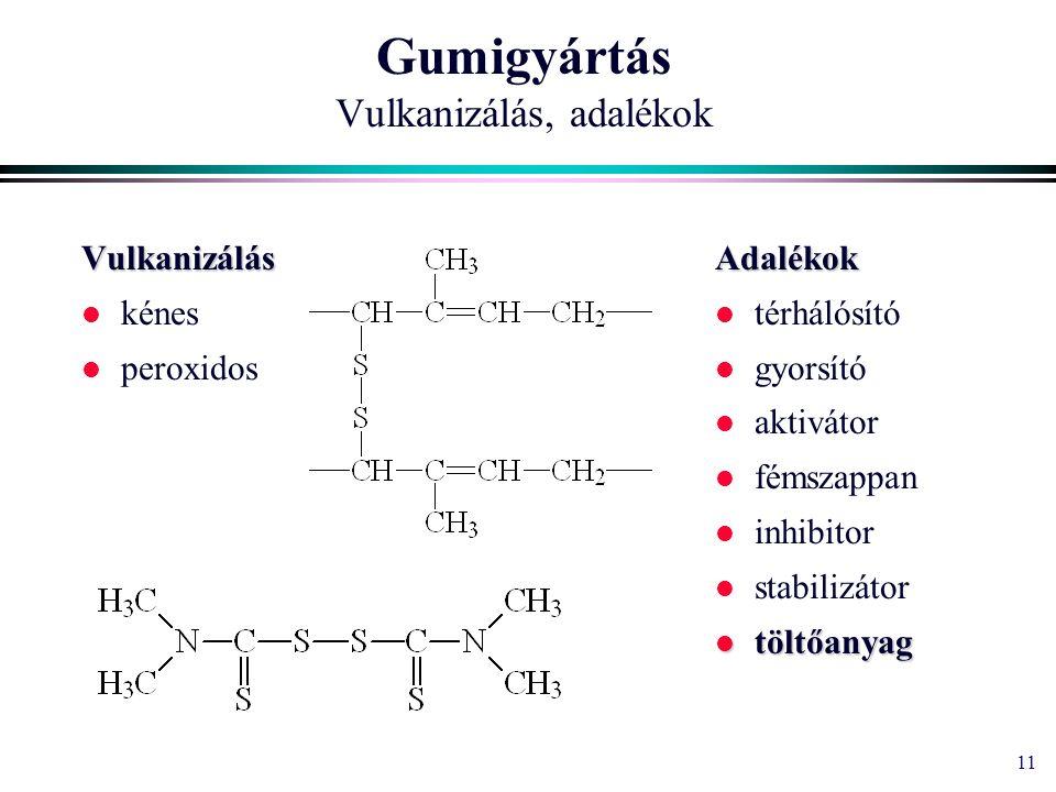 11 Gumigyártás Vulkanizálás, adalékok Vulkanizálás l kénes l peroxidosAdalékok l térhálósító l gyorsító l aktivátor l fémszappan l inhibitor l stabili