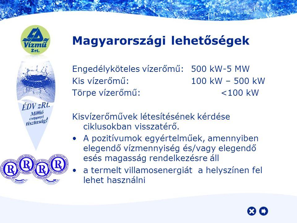 Magyarországi lehetőségek Engedélyköteles vízerőmű: 500 kW-5 MW Kis vízerőmű:100 kW – 500 kW Törpe vízerőmű:<100 kW Kisvízerőművek létesítésének kérdése ciklusokban visszatérő.