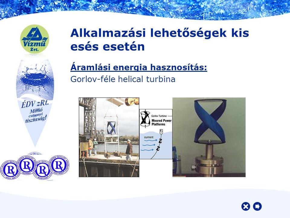 Alkalmazási lehetőségek kis esés esetén Áramlási energia hasznosítás: Gorlov-féle helical turbina