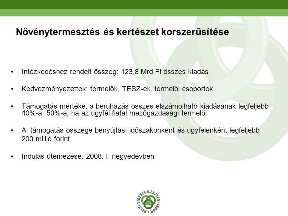16 Növénytermesztés és kertészet korszerűsítése Intézkedéshez rendelt összeg: 123,8 Mrd Ft összes kiadás Kedvezményezettek: termelők, TÉSZ-ek, termelő