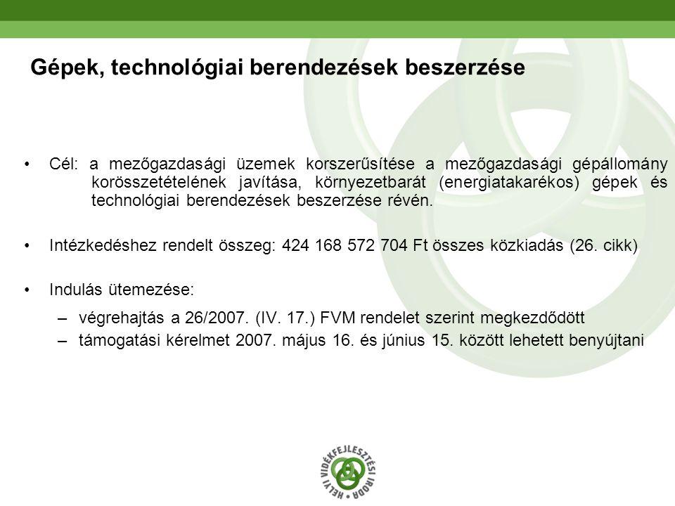 17 Gépek, technológiai berendezések beszerzése Cél: a mezőgazdasági üzemek korszerűsítése a mezőgazdasági gépállomány korösszetételének javítása, körn
