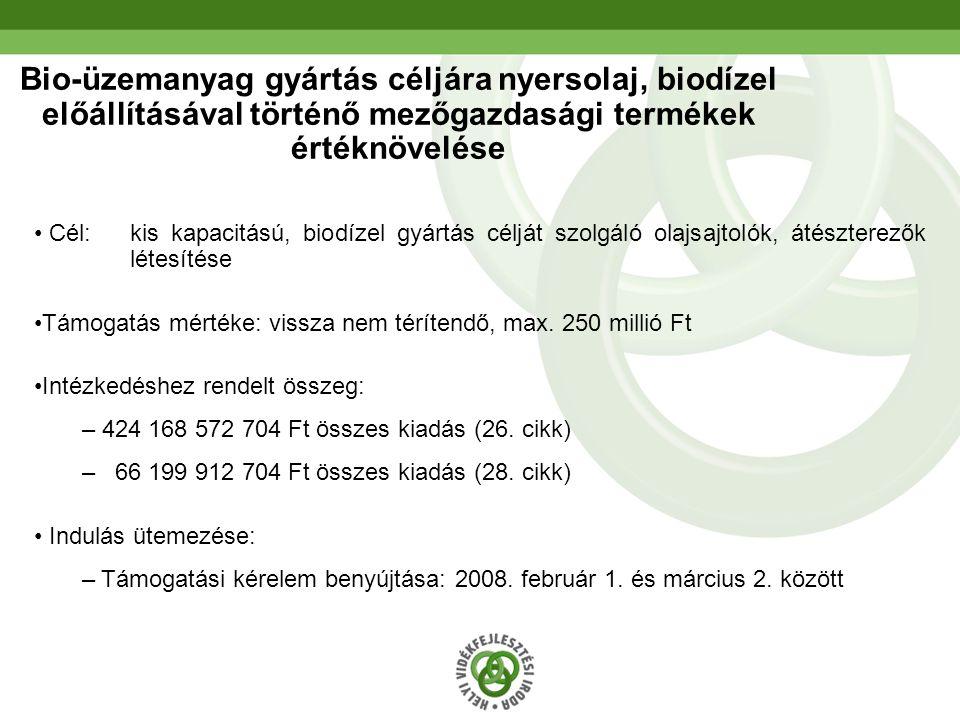 21 Bio-üzemanyag gyártás céljára nyersolaj, biodízel előállításával történő mezőgazdasági termékek értéknövelése Cél: kis kapacitású, biodízel gyártás célját szolgáló olajsajtolók, átészterezők létesítése Támogatás mértéke: vissza nem térítendő, max.
