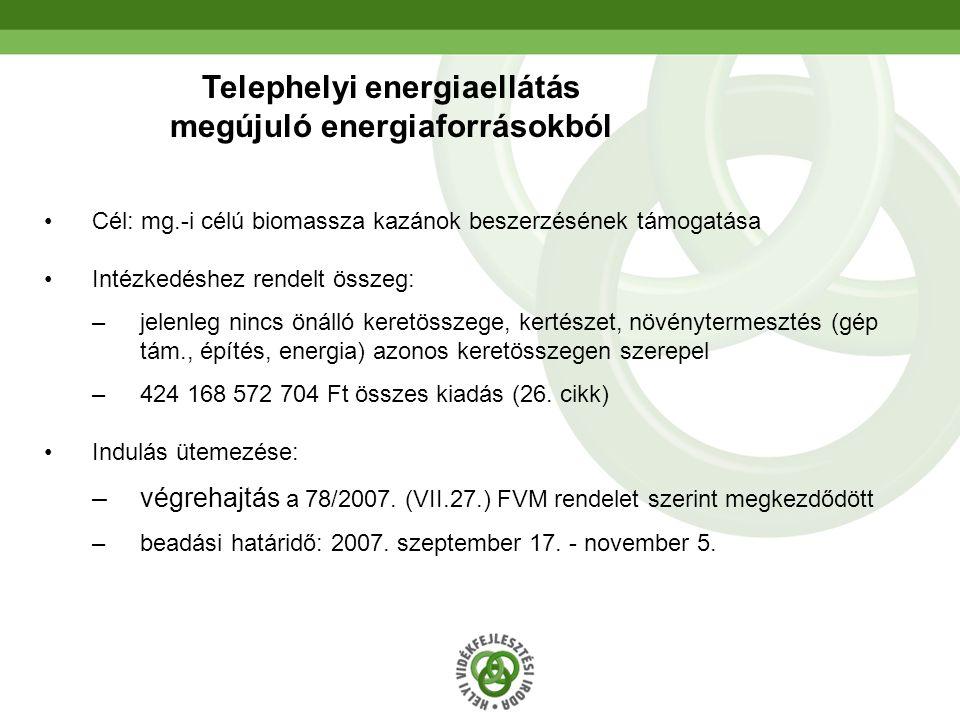 26 Telephelyi energiaellátás megújuló energiaforrásokból Cél: mg.-i célú biomassza kazánok beszerzésének támogatása Intézkedéshez rendelt összeg: –jelenleg nincs önálló keretösszege, kertészet, növénytermesztés (gép tám., építés, energia) azonos keretösszegen szerepel –424 168 572 704 Ft összes kiadás (26.