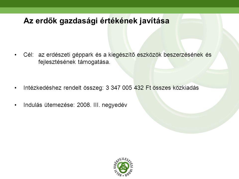 28 Az erdők gazdasági értékének javítása Cél: az erdészeti géppark és a kiegészítő eszközök beszerzésének és fejlesztésének támogatása. Intézkedéshez