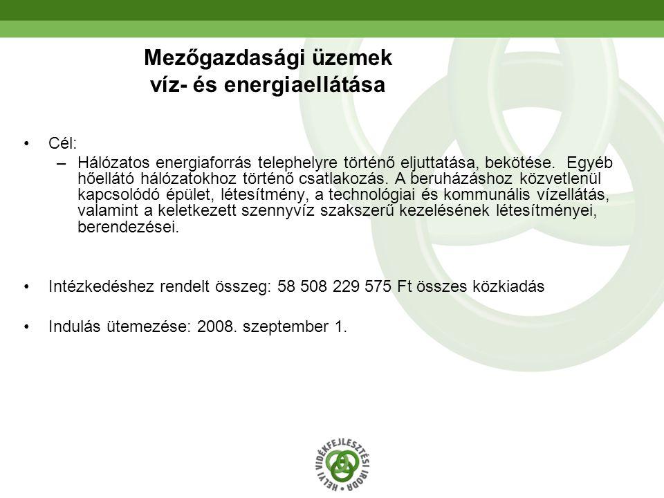 29 Mezőgazdasági üzemek víz- és energiaellátása Cél: –Hálózatos energiaforrás telephelyre történő eljuttatása, bekötése.