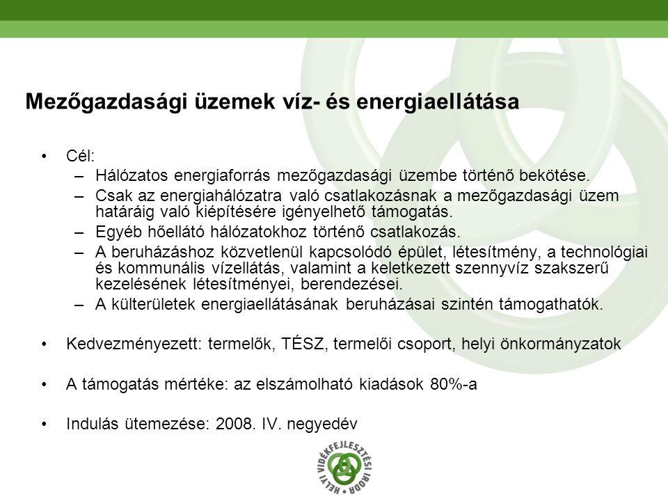 33 Mezőgazdasági üzemek víz- és energiaellátása Cél: –Hálózatos energiaforrás mezőgazdasági üzembe történő bekötése. –Csak az energiahálózatra való cs