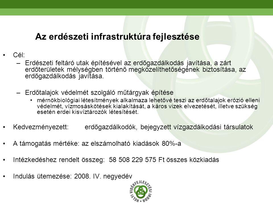 34 Az erdészeti infrastruktúra fejlesztése Cél: –Erdészeti feltáró utak építésével az erdőgazdálkodás javítása, a zárt erdőterületek mélységben történ