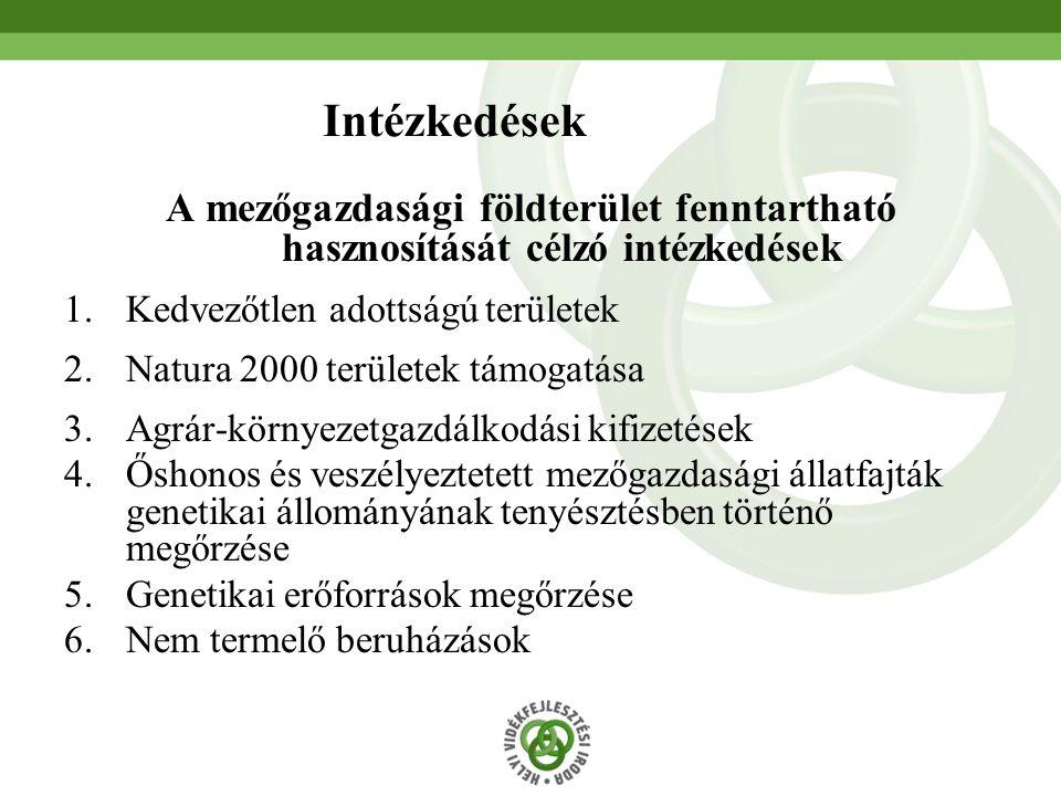 40 Intézkedések A mezőgazdasági földterület fenntartható hasznosítását célzó intézkedések 1.Kedvezőtlen adottságú területek 2.Natura 2000 területek támogatása 3.Agrár-környezetgazdálkodási kifizetések 4.Őshonos és veszélyeztetett mezőgazdasági állatfajták genetikai állományának tenyésztésben történő megőrzése 5.Genetikai erőforrások megőrzése 6.Nem termelő beruházások