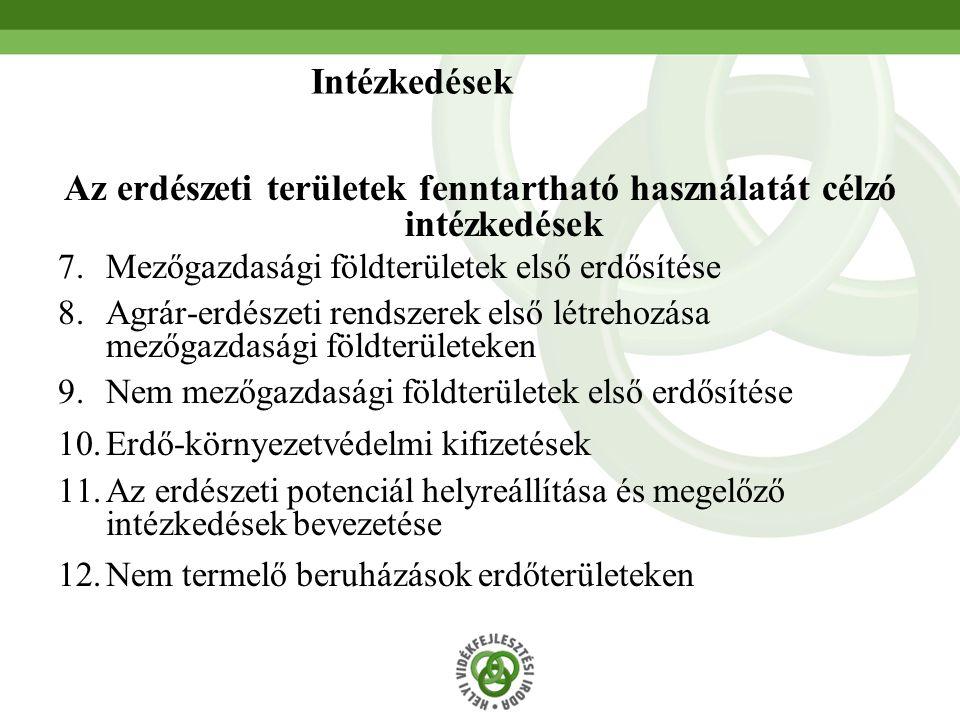 41 Az erdészeti területek fenntartható használatát célzó intézkedések 7.Mezőgazdasági földterületek első erdősítése 8.Agrár-erdészeti rendszerek első létrehozása mezőgazdasági földterületeken 9.Nem mezőgazdasági földterületek első erdősítése 10.Erdő-környezetvédelmi kifizetések 11.Az erdészeti potenciál helyreállítása és megelőző intézkedések bevezetése 12.Nem termelő beruházások erdőterületeken Intézkedések