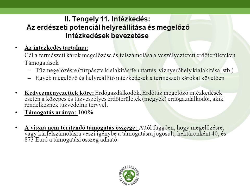 52 II. Tengely 11. Intézkedés: Az erdészeti potenciál helyreállítása és megelőző intézkedések bevezetése Az intézkedés tartalma: Cél a természeti káro