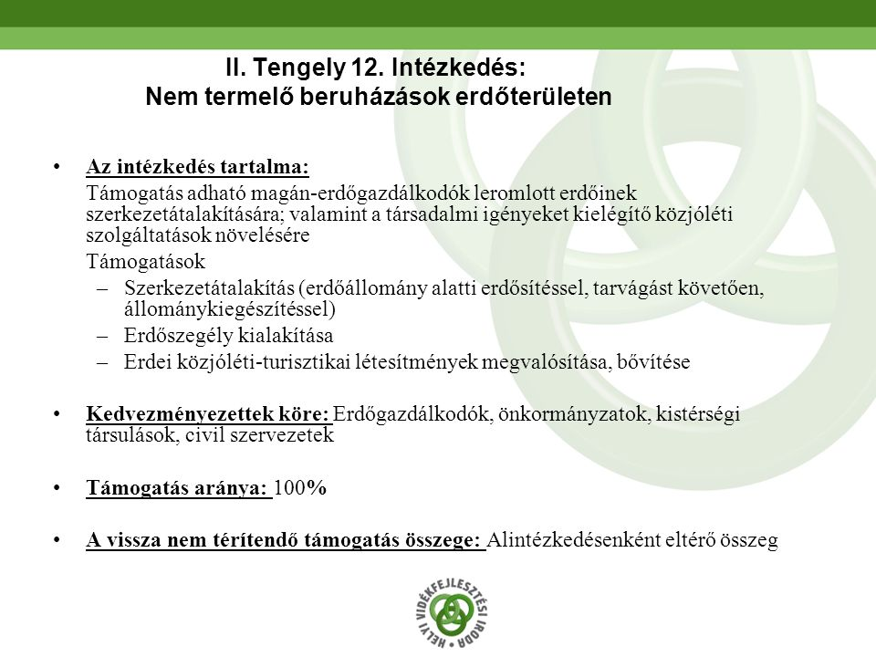 53 II. Tengely 12. Intézkedés: Nem termelő beruházások erdőterületen Az intézkedés tartalma: Támogatás adható magán-erdőgazdálkodók leromlott erdőinek