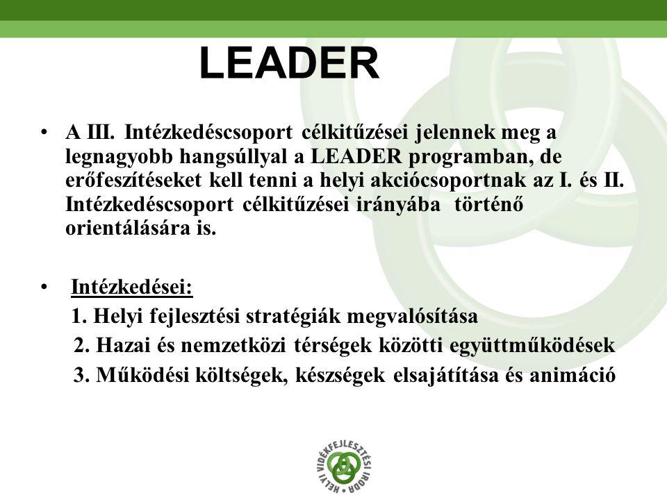 67 LEADER A III. Intézkedéscsoport célkitűzései jelennek meg a legnagyobb hangsúllyal a LEADER programban, de erőfeszítéseket kell tenni a helyi akció