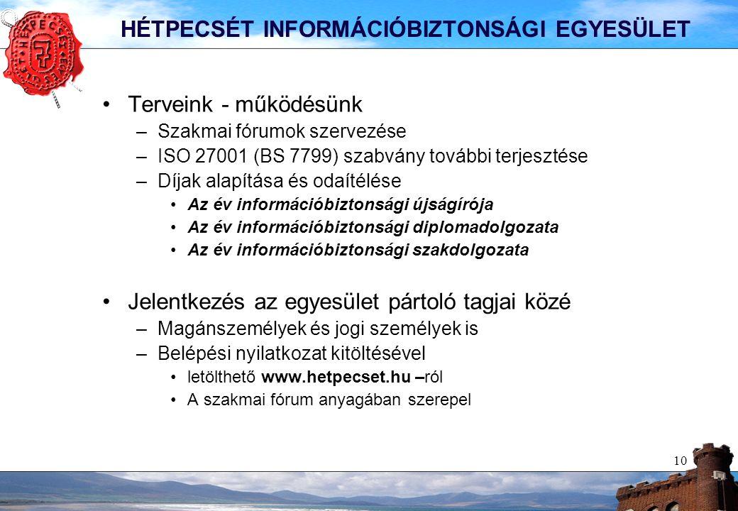 10 HÉTPECSÉT INFORMÁCIÓBIZTONSÁGI EGYESÜLET Terveink - működésünk –Szakmai fórumok szervezése –ISO 27001 (BS 7799) szabvány további terjesztése –Díjak alapítása és odaítélése Az év információbiztonsági újságírója Az év információbiztonsági diplomadolgozata Az év információbiztonsági szakdolgozata Jelentkezés az egyesület pártoló tagjai közé –Magánszemélyek és jogi személyek is –Belépési nyilatkozat kitöltésével letölthető www.hetpecset.hu –ról A szakmai fórum anyagában szerepel