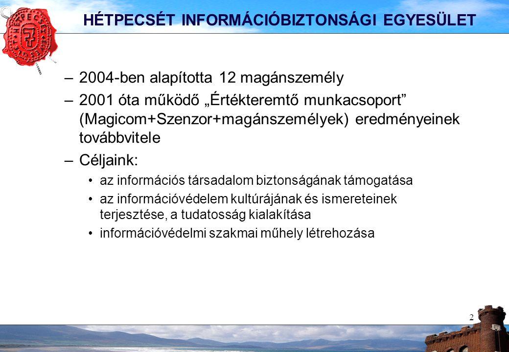 13 MAI PROGRAM Köszöntő és bevezető gondolatok - Aktualitások Gasparetz András ISO 19770 – szoftvergazdálkodási szabvány Zsoldos Sándor, (IPR-Insights Consulting&Research) ügyvezető igazgató ISO 27001 auditok magyarországi helyzetének ismertetése Gasparetz András 11.15 - 11.45 Kávé szünet (kávé, üdítő, pogácsa, aprósütemény) Incidenskezelési gyakorlatok módszertana dr.