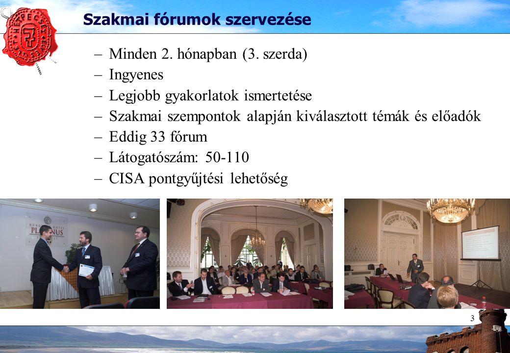 3 Szakmai fórumok szervezése –Minden 2. hónapban (3. szerda) –Ingyenes –Legjobb gyakorlatok ismertetése –Szakmai szempontok alapján kiválasztott témák