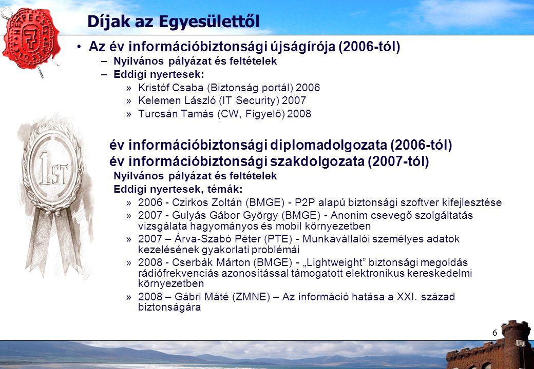 66 Díjak az Egyesülettől Az év információbiztonsági újságírója (2006-tól) –Nyilvános pályázat és feltételek –Eddigi nyertesek: »Kristóf Csaba (Biztons