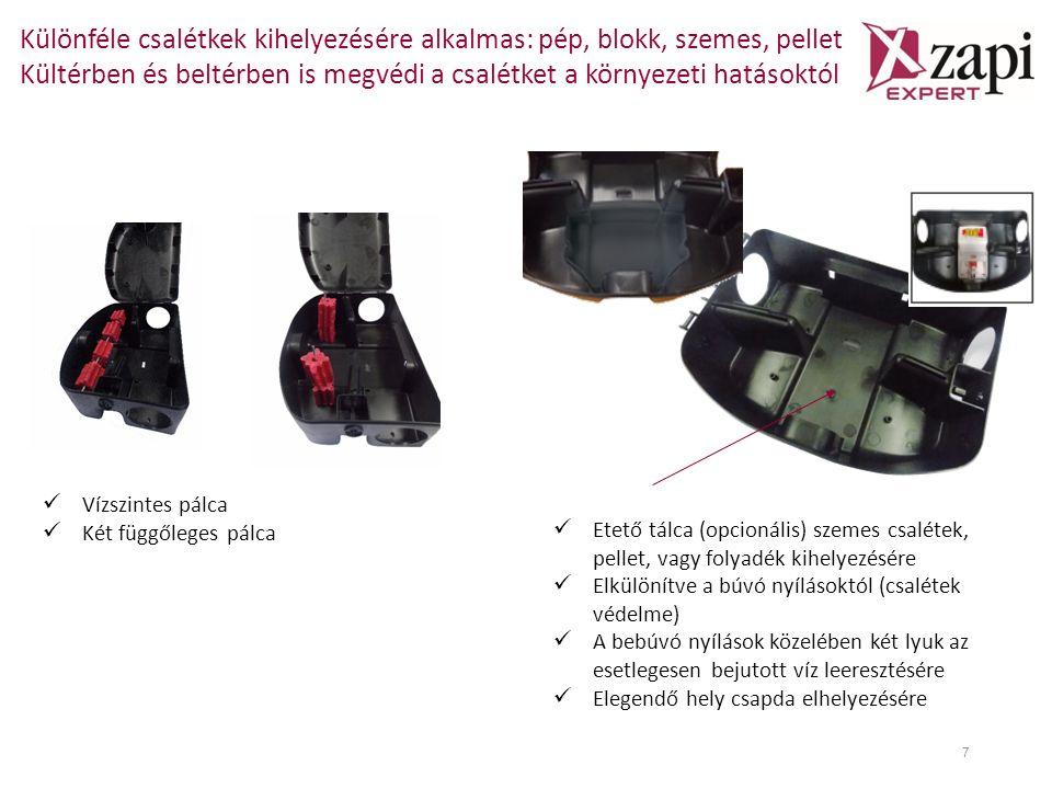 Különféle csalétkek kihelyezésére alkalmas: pép, blokk, szemes, pellet Kültérben és beltérben is megvédi a csalétket a környezeti hatásoktól 7 Etető tálca (opcionális) szemes csalétek, pellet, vagy folyadék kihelyezésére Elkülönítve a búvó nyílásoktól (csalétek védelme) A bebúvó nyílások közelében két lyuk az esetlegesen bejutott víz leeresztésére Elegendő hely csapda elhelyezésére Vízszintes pálca Két függőleges pálca