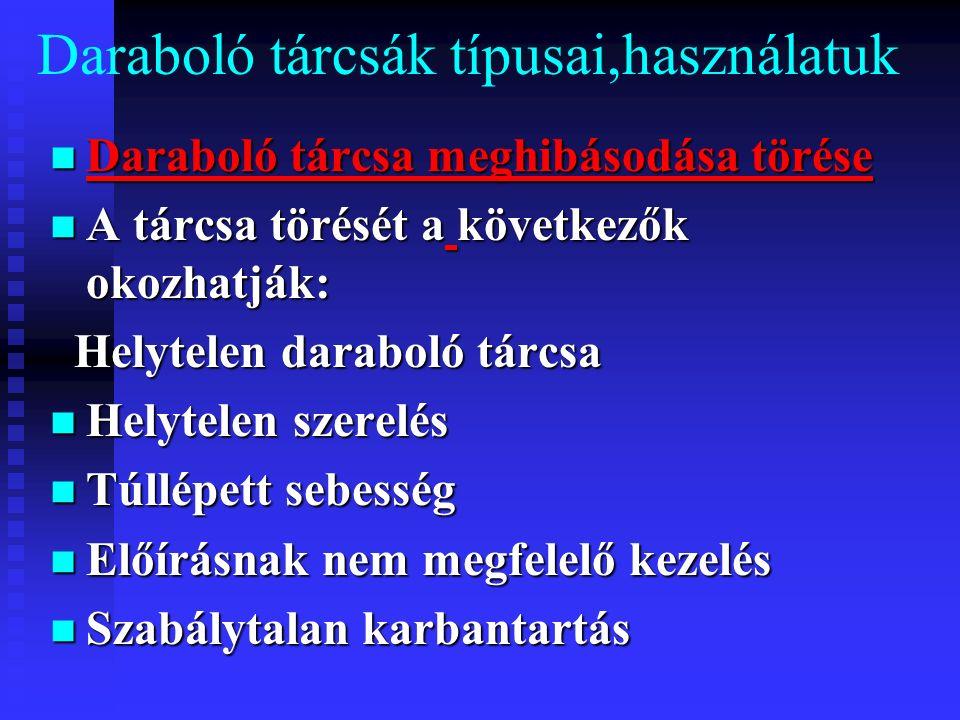 Daraboló tárcsák típusai,használatuk Daraboló tárcsa meghibásodása törése Daraboló tárcsa meghibásodása törése A tárcsa törését a következők okozhatják: A tárcsa törését a következők okozhatják: Helytelen daraboló tárcsa Helytelen daraboló tárcsa Helytelen szerelés Helytelen szerelés Túllépett sebesség Túllépett sebesség Előírásnak nem megfelelő kezelés Előírásnak nem megfelelő kezelés Szabálytalan karbantartás Szabálytalan karbantartás