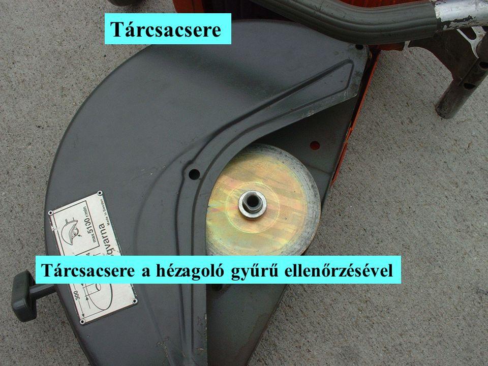 Tárcsacsere Tárcsacsere a hézagoló gyűrű ellenőrzésével