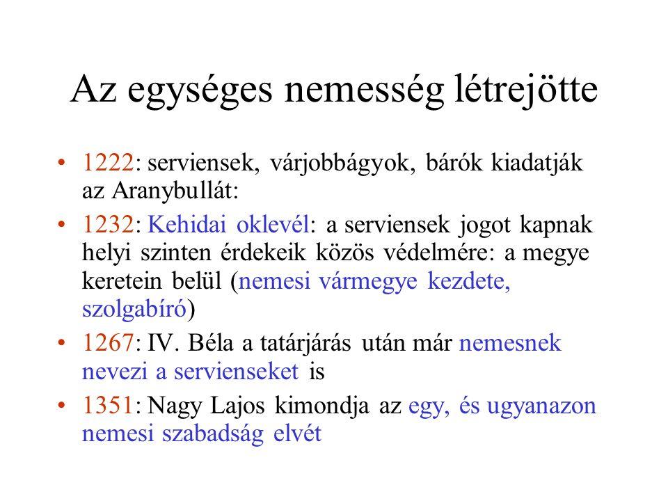 Az egységes nemesség létrejötte 1222: serviensek, várjobbágyok, bárók kiadatják az Aranybullát: 1232: Kehidai oklevél: a serviensek jogot kapnak helyi szinten érdekeik közös védelmére: a megye keretein belül (nemesi vármegye kezdete, szolgabíró) 1267: IV.