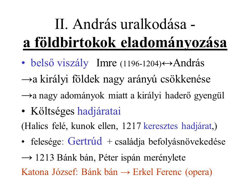II. András uralkodása - a földbirtokok eladományozása belső viszály Imre (1196-1204) ↔András →a királyi földek nagy arányú csökkenése → a nagy adomány
