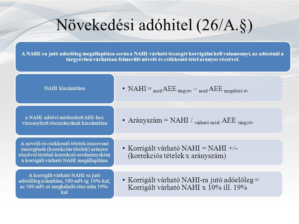 Növekedési adóhitel (26/A.§) A NAHI-ra jutó adóelőleg megállapítása során a NAHI várható összegét korrigálni kell valamennyi, az adózónál a tárgyévben várhatóan felmerülő növelő és csökkentő tétel arányos részével.